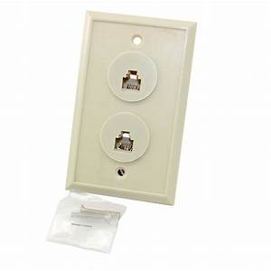 6 Position  6 Conductor Dual Telephone Jack Wall Plate