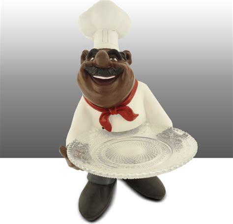 black chef kitchen decor black chef kitchen statue holding glass plate table