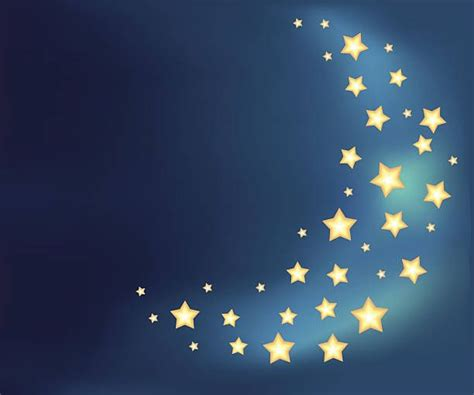 Background With A Moon Made Of Shiny Cartoon Stars Vector
