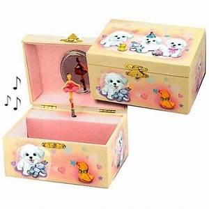 Boite A Bijoux Enfant : boite bijoux musicale pour enfants motif petits chiens cavacado ~ Teatrodelosmanantiales.com Idées de Décoration