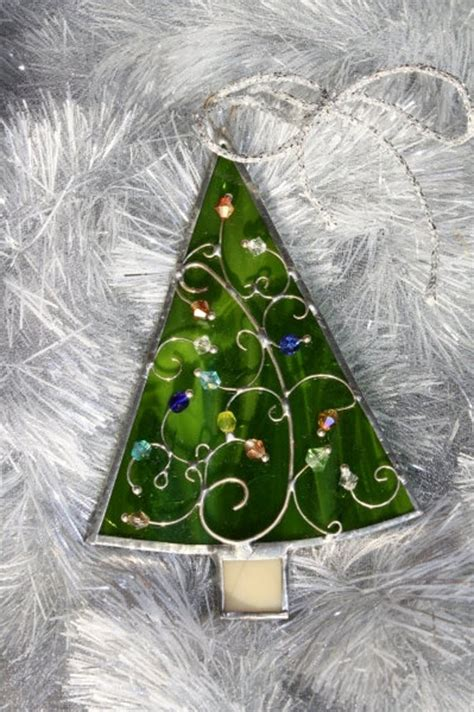 stained glass christmas tree ornaments