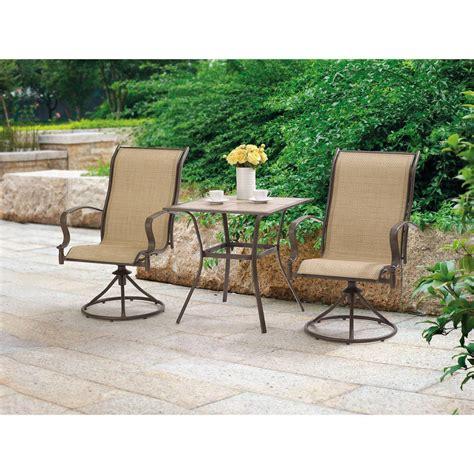 outdoor  piece bistro set swivel chairs table garden