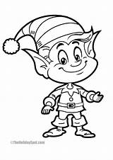 Coloring Christmas Elf Fun Smiling Theholidayspot sketch template