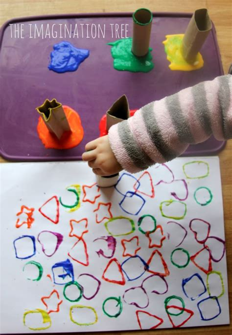 printing with cardboard shape the imagination tree 432   Toddler art printing with shape tubes 680x980