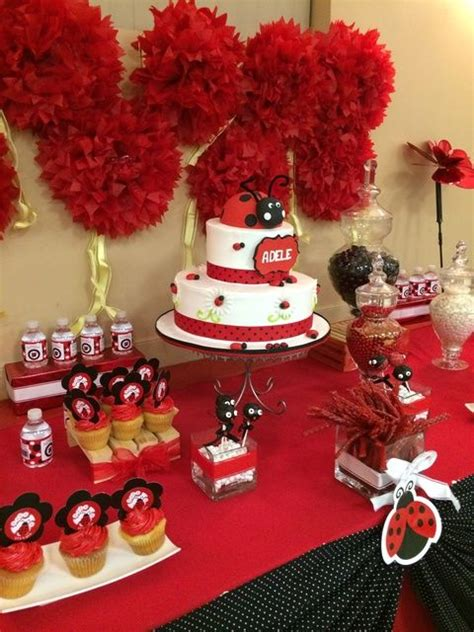 pom poms cake  treats   ladybug girl birthday party