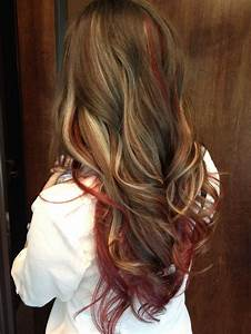 Red and blond highlights long brown hair | Hair and make ...