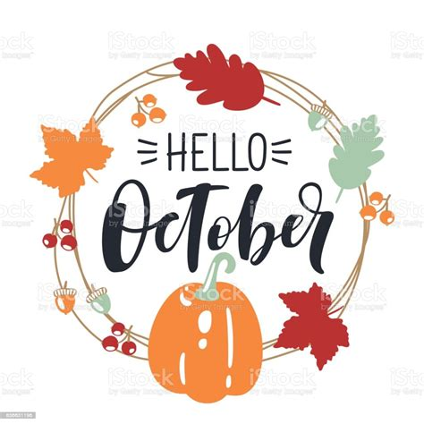 Hello October Bright Fall Leaves And Lettering Composition ...