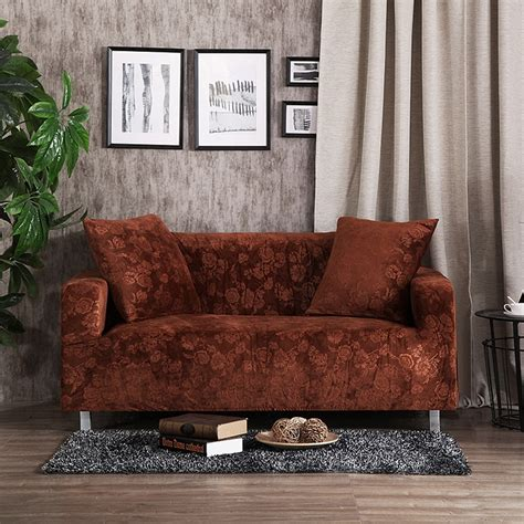 Living Room Furniture Covers by Brown Sofa Seat Cushion Cover Solid Color Stretch