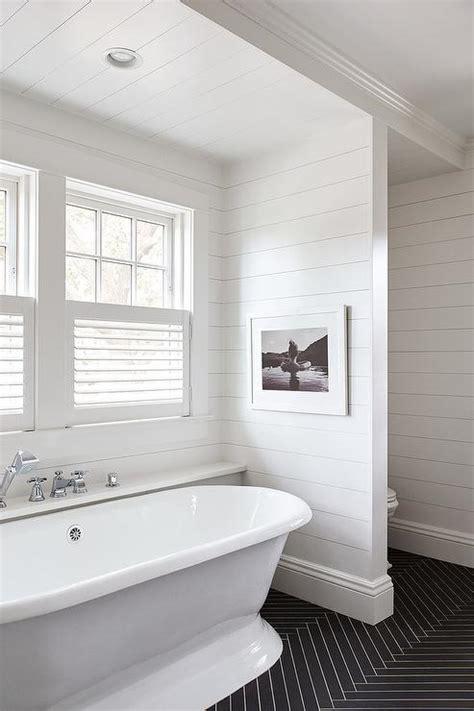 black  white kids bathroom  shiplap trim cottage bathroom