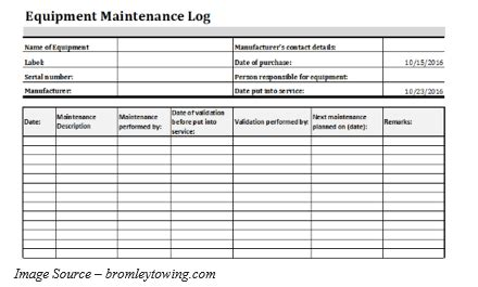 equipment maintenance log template   templates