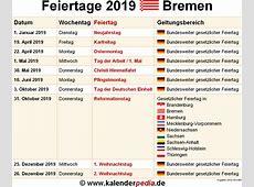 Feiertage Bremen 2019, 2020 & 2021 mit Druckvorlagen