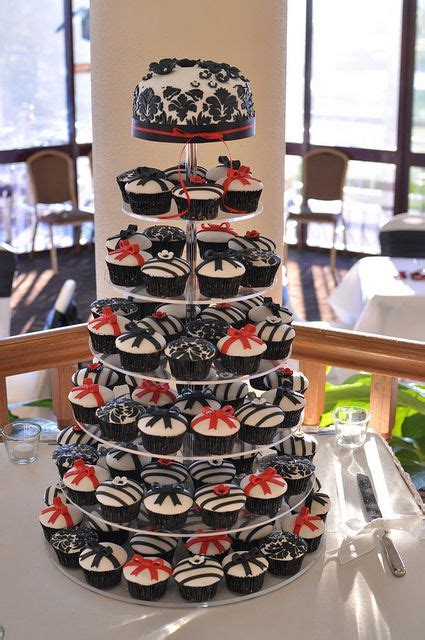 red black  white wedding cupcakes wedding cake ideas
