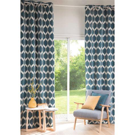 rideau chambre bebe fille rideau motifs bleu pétrole 140x300cm aston maisons du monde