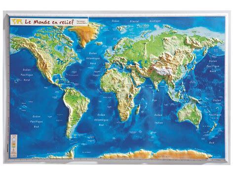 Carte Relief Monde Cycle 3 by Carte Murale En Relief Monde Wesco