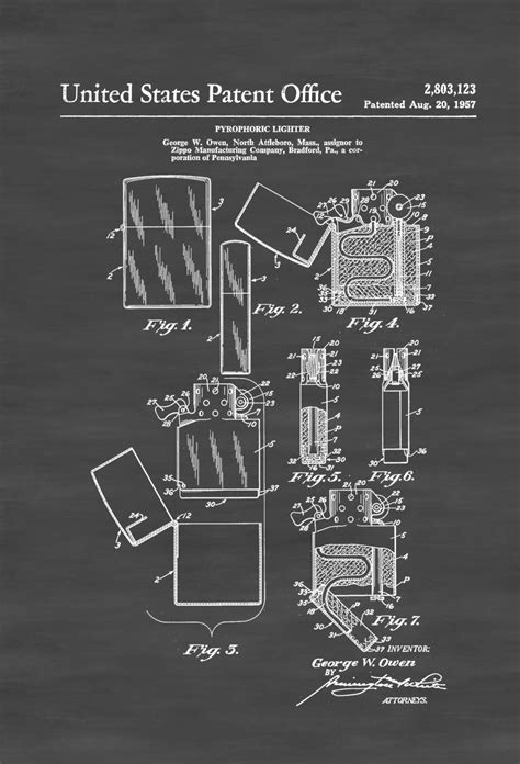 1957 Zippo Lighter Patent – Decor, Patent Print, Lighter ...