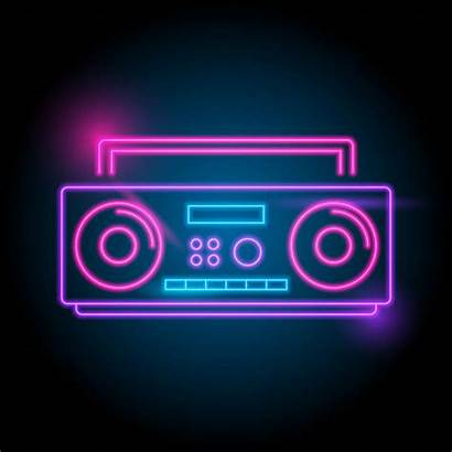 Neon Radio Vector Party Stereo Background Headphones
