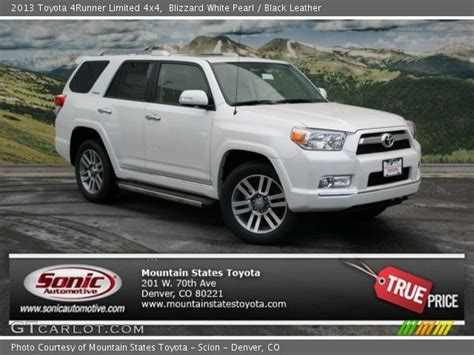 blizzard white pearl 2013 toyota 4runner limited 4x4 black leather interior gtcarlot