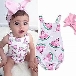 Newborn Toddler Infant Baby Girl Watermelon Sleeveless Romper Jumpsuit +Headband Outfit Sunsuit ...
