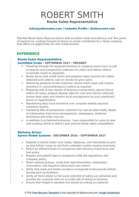 Build Resume Sles by Route Sales Representative Resume Sles Qwikresume