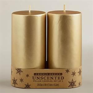 3x6 Gold Pillar Candles, 2-Pack World Market