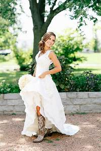 Cowboy boots and weddings cowgirl magazine for Wedding dress with cowboy boots