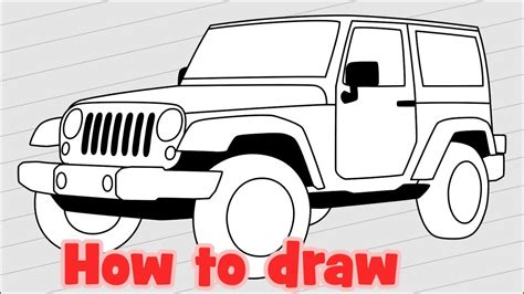 4 door jeep drawing how to draw jeep wrangler sahara jk 4 door youtube