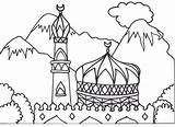 Mosque Coloring Arabic Islamic Colouring Pages Masjid Muslim Alphabet Ramadan Children Drawing Books Eid Hajj Printable Sheet Calligraphy Getcolorings Mosaic sketch template