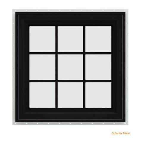 jeld wen        series black finishield vinyl  handed casement window
