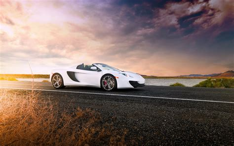 Car Sunset Wallpaper by Mclaren Mp4 12c Spider White Supercar Sunset Road
