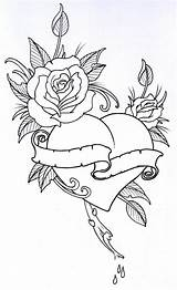 Outline Coloring Pages Rose Drawing Deviantart Tattoo Roses Heart Tattoos Drawings Flower Sketches Roseheart Vikingtattoo sketch template