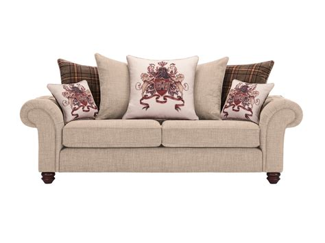 Sandringham 3 Seater Pillow Back Sofa In Beige With Beige