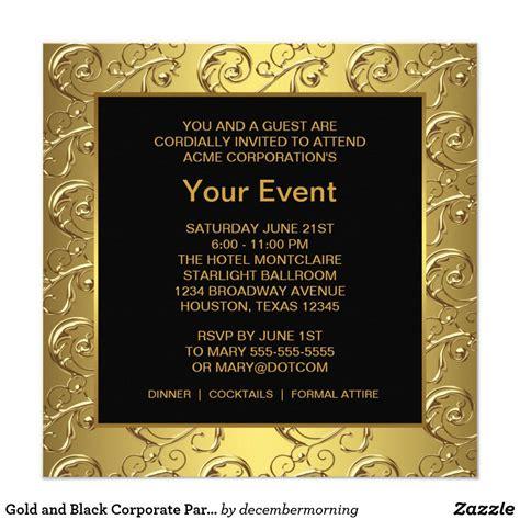 gold  black corporate party event invitation zazzle
