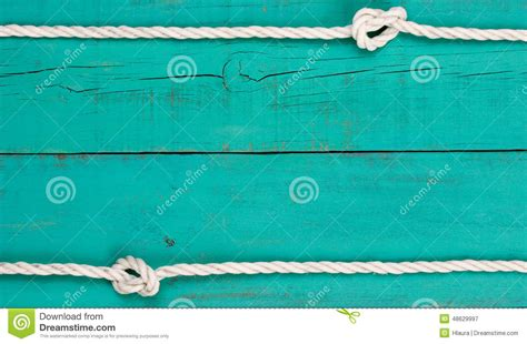 white rope border  blank antique teal blue rustic wooden