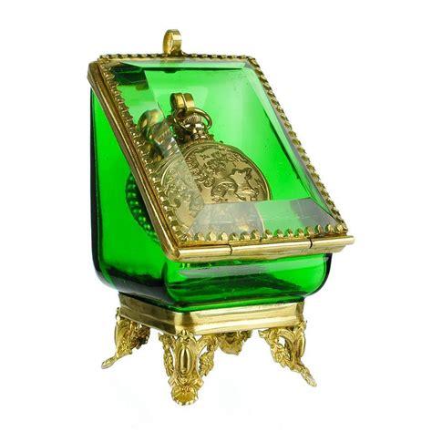 vintage green glass l antique emerald green glass pocket watch holder stand