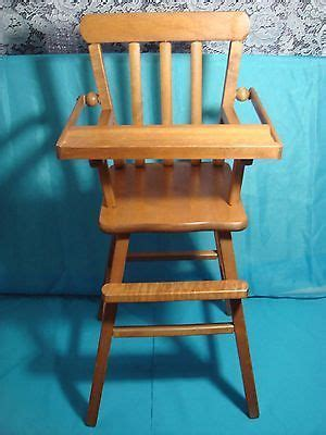 vintage  wooden doll highchair