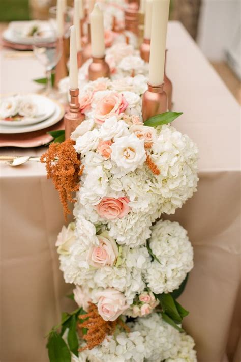 Floral Table Runner ~ Flowers White Peach Rose Gold