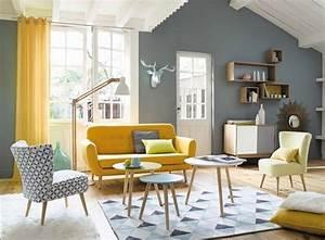 17 meilleures idees a propos de canape jaune sur pinterest With charming couleur tendance deco salon 4 un salon vintage le blog deco de maisons du monde
