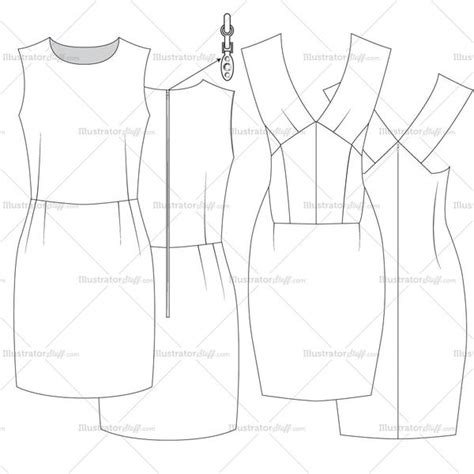 womens bodycon dress fashion flat template templates