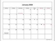 January 2020 Calendar Printable with Bank Holidays UK