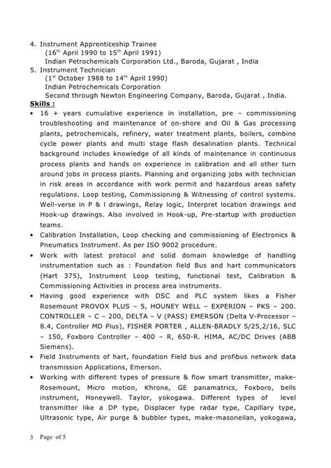 Resume For Senior Instrument Technician by New Cv Rohit