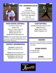 fast pitch softball player profile template