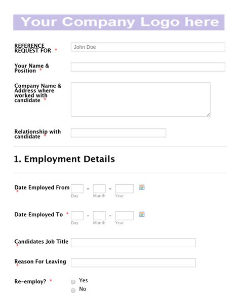 Employment Reference Request Template by Employee Reference Request Form Template Jotform