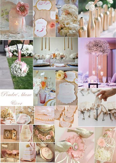 inspiration mariage vintage romantique poudre rose  dore