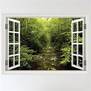 full colour forest woodland river window scene wall With window wall decal