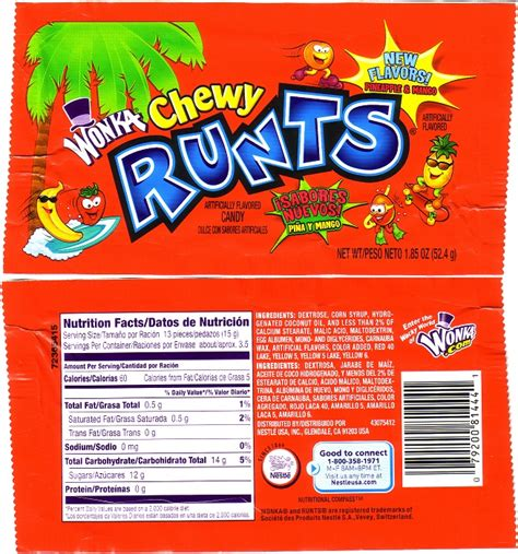 candy wrapper 2007 runts wrapper archive