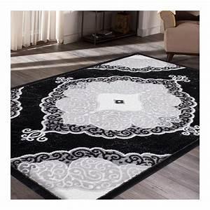 tapis brillant noir pour salon pas cher tapis decofr With tapis décoratif pour salon