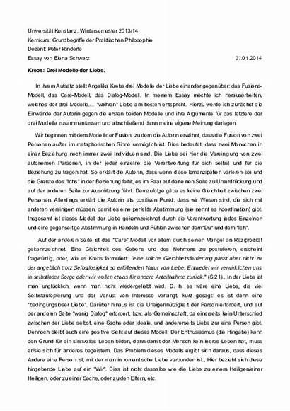 Philosophie Essay Krebs Angelika Liebe Thema Bei