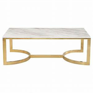 nata hollywood white marble brass horse shoe coffee table With white and brass coffee table