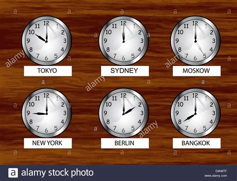 world clock time zones clock wooden wall stock