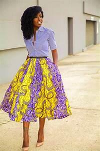 Style Pantry | Striped Shirt + African Print Midi Skirt